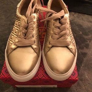 Tory Burch Marion quilted metallic gold sneaker